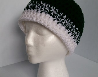Green Crocheted Hat, Winter Hat, Beanie-Ready to Ship