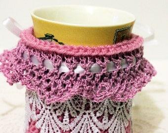 Knit coffee mug cozy  hand knitted mug warmer  tea cozy tea cup cozy