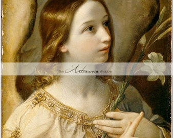 Digital Download Printable - Angel Art Antique Painting - Paper Crafts Scrapbooking Altered Art Image Transfer - Renaissance Angel Flower