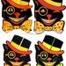 Digital Download Printable Art - Vintage Retro Black Cats Halloween Image - Paper Crafts Scrapbook Altered Art - 4 Black Cats in Top Hats