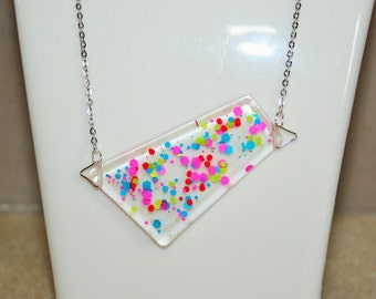 Jewelry Funky collection - necklace and earrings in resin and glitter