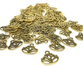 15 Antique Gold Lotus Flower Charms (Lead,Nickel,Cadmium Free)