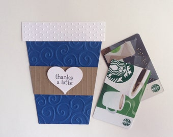 Thanks A Latte Card, Coffee Gift Card Holder, Coffee Cup Card, Teacher Appreciation, Thank You Card, Gift Card Holder, Coffee Gift