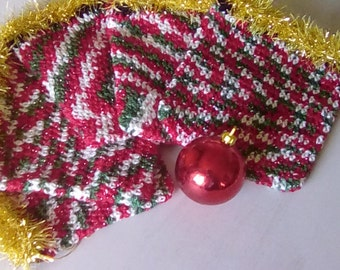 Small Crochet Christmas Drawstring Gift Bag