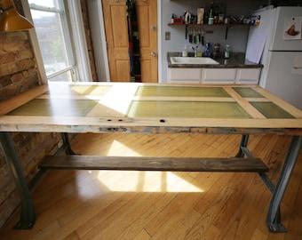 door turned table, industrial hallowell legs
