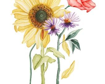 Watercolor Botanical Spring Bouquet
