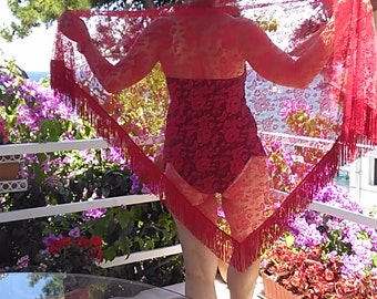 Red Triangle Lace Shawl  Lace Shawl Wrap in fringes      Big Scarf- Pareo    Beach Wrap   Dancing Accessory