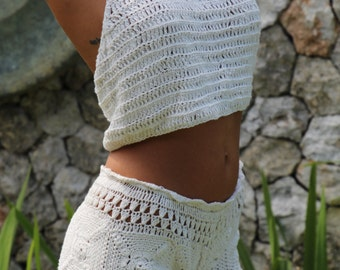 Clohe handmade crochet beach short, cream crochet shorts, casual crochet short