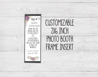 Purple Photo Booth Place Card Insert - Printable - Instant Download - Editable Text