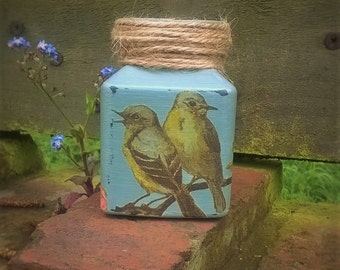 Upcycled Jar, Diffuser Jar, Recycled Jar, Vintage Style, Vintage Birds Jar, Table Decoration.