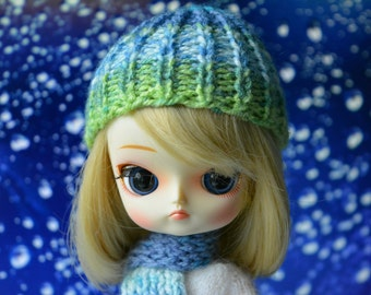 Set hat and scarf fits Pullip Dal dolls green blue white