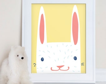 Hello Bunny children's art print, rabbit nursery wall art, nursery decor, kids room art print, children's decor, bunny illustration