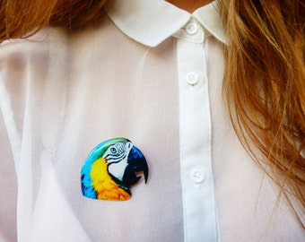 Ara Parrot Brooch / Animal Brooch / Colorful Brooch /Ara Parrot Jewelry / Bird Brooch / Bird Jewelry / Bird gift idea / Gift for her