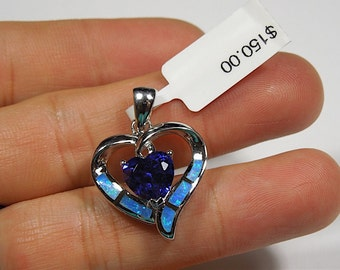 Tanzanite & Blue Fire Opal Inlay Solid 925 Sterling Silver Heart Pendant Necklace- Free 18'' sterling Silver Chain