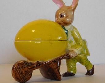 Vintage Mr. Easter Rabbit Pushing a Easter Egg Cart.