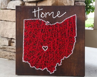 Ohio string art home state sign