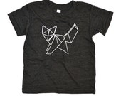KID fox t shirt,  unisex kids, graphic, super soft, fox, logo, made in USA, geo, geometric, origami, katefoxapparel, cotton, original