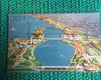 Authentic Vintage Postcard - Linen Look - 1933-34 Chicago World's Fair - #119 Panorama Century of Progress - Postmarked