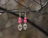 Pink Earrings Sugar Skull