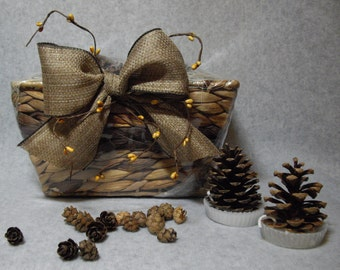 Pine Cone Fire Starters Set of 8 and Miniature Pine Cones Rectangle Gift Basket With Hand Tied Bow and Pip Berries