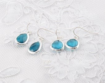 Aqua Wedding earrings Bridesmaids Jewelry Bridesmaid Earrings Aqua Wedding Bridesmaid gifts Gift for her Gift ideas Gift for Mom