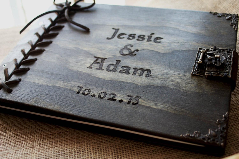 Rustic Wedding Guest Book Custom Personalized Wooden W Leather Spine Braided Hinge Wood Journal Album Sketchbook
