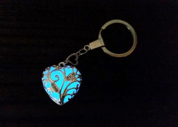 Anna's Frozen Heart Keychain, Valentines Gift for Her, Aqua Glow in the Dark Heart Key Chain, Glowing Blue Heart Key Ring, Glow Heart Gift