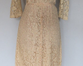 1960s Gold Lace Dress