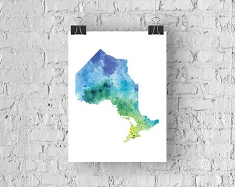 Ontario Watercolour Map - Giclée Print of Hand Painted Original Art - 5 Colours to Choose From