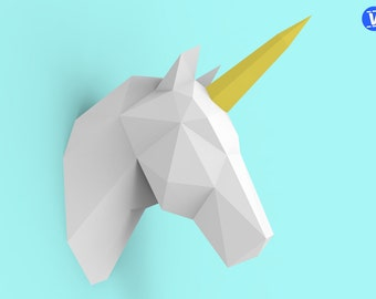 Unicorn Head Papercraft PDF Pack - 3D Paper Sculpture Template with Instructions - DIY Wall Decoration - Animal Trophy