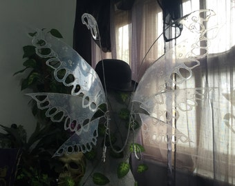 Large Lace Fairy Wings with Flybacks, Curls and Spirals - Made to Order
