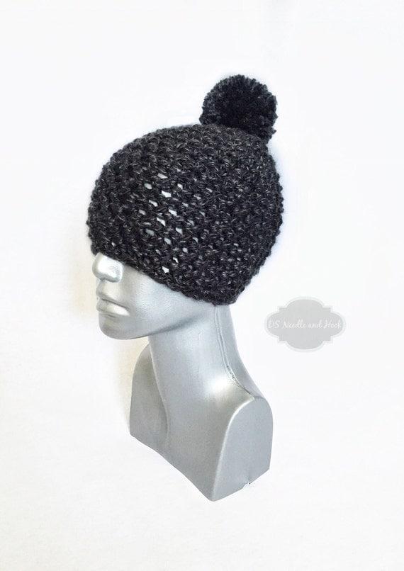 Dark Grey Chunky Pom Hat, Charcoal Crochet Beanie, Black Winter Hat With Puff, Gray Pom Pom Knit Hat, Ski Cap