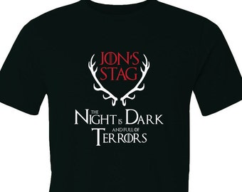 Game of Thrones House Baratheon and R'hllor the night is dark and full of Terrors customized Stag party t-shirt.