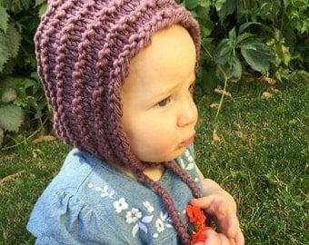 Pixie Hood, Baby or Toddler Bonnet, Knit Pixie Bonnet, Elf Hat, Gnome Hat