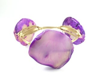 Purple Agate Slice Wire Wrapped Bangle - Gemstone Bracelet - Wire Jewelry - Gift For Her - Statement Bracelet- Courtney And Courtnie