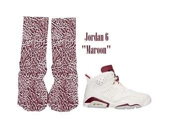 "Custom Jordan 6 ""Maroon"" elephant print socks Get yourself a pair..  sz 6-12"