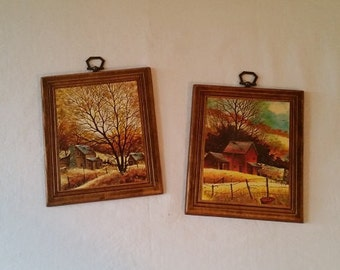 Small Wooden Farmhouse Pictures - Set of 2 - Fall Colors - 1960's
