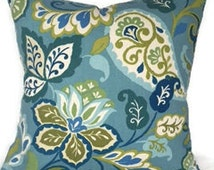 The different shades of blues and greens are in-many sizes and many coordinating pillows and drapes in my store to match!