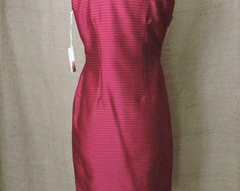 Vintage Asian Dress Size S Burgundy Sleeveless  Knee Length Polyester 1980s