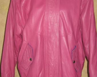 Retro 90's Pink Leather Bomber Jacket