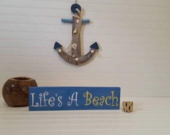 Life's a Beach sign, Beach decor, Shore house decor, wood sign, Beach sign