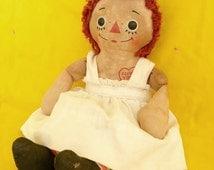 "Vintage Raggedy Ann Musical Rag Doll. Rare Sized 12"" Doll That Plays ""Rock-A-Bye Baby"". Music Box Still Works."