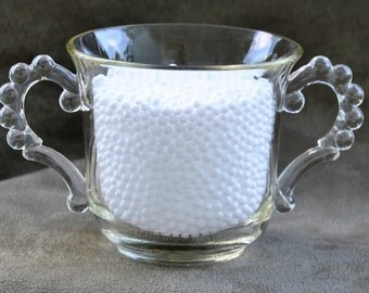 Double-Handle Hobnail Glass Sugar Bowl Candlewick style