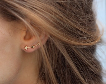 Tiny Stars Ear Climbers - stars ear climbers - Constellation earrings - Delicate silver stars ear climber