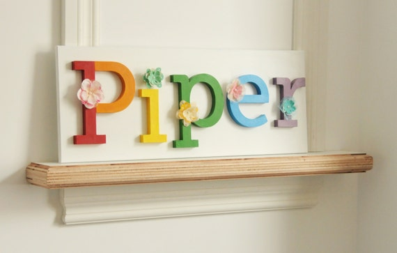 Rainbow Color Wooden LettersHand Painted And Decorated Wooden