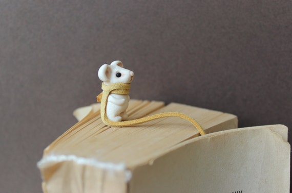 Handmade Bookmark Mouse for books a scarf long Bookmarks Animal Miniature clay gift best friend