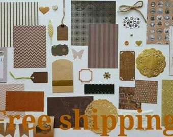Brown junk journal kit, art journal kit, mixed media kit, smash journal kit, scrapbook inspiration kit, paper ephemera kit, snail mail kit.