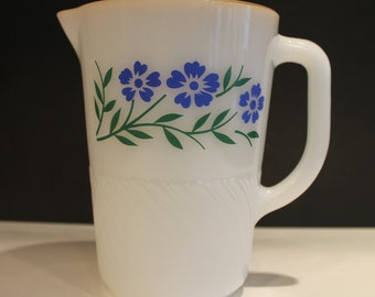 Vintage Milk Glass Termocrisa Pitcher Blue Flowers and Gold Trim