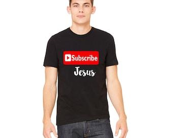 Men's Christian Jesus Shirt - Jesus Christian Shirt - Christian Shirt - Men's Christian Tee - Subscribe to Jesus