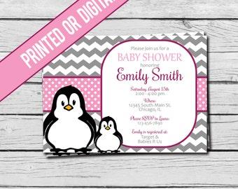 Printed or Digital File - Pink Penguin Baby Shower Invitation